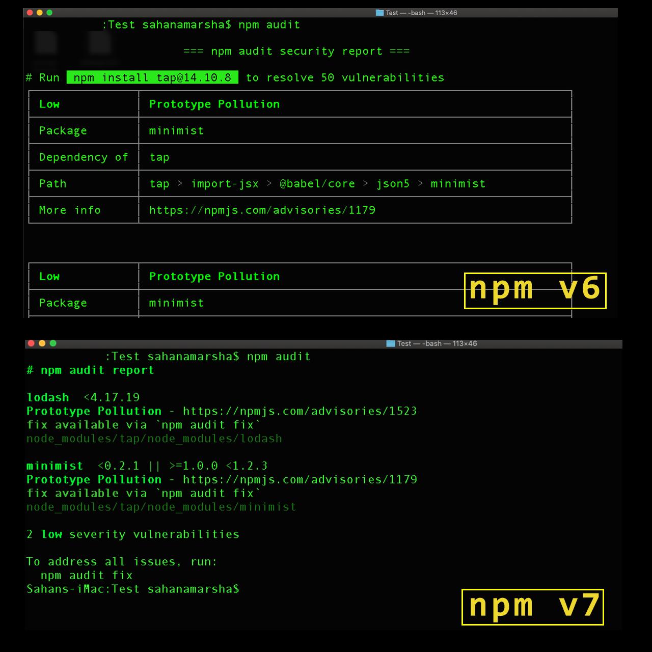 Выполнение npm audit в npm v6 и npm v7. Источник: Bits and Pieces