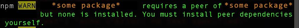 Предупреждающее сообщение о peer зависимости после запуска npm install. Источник: Bits and Pieces
