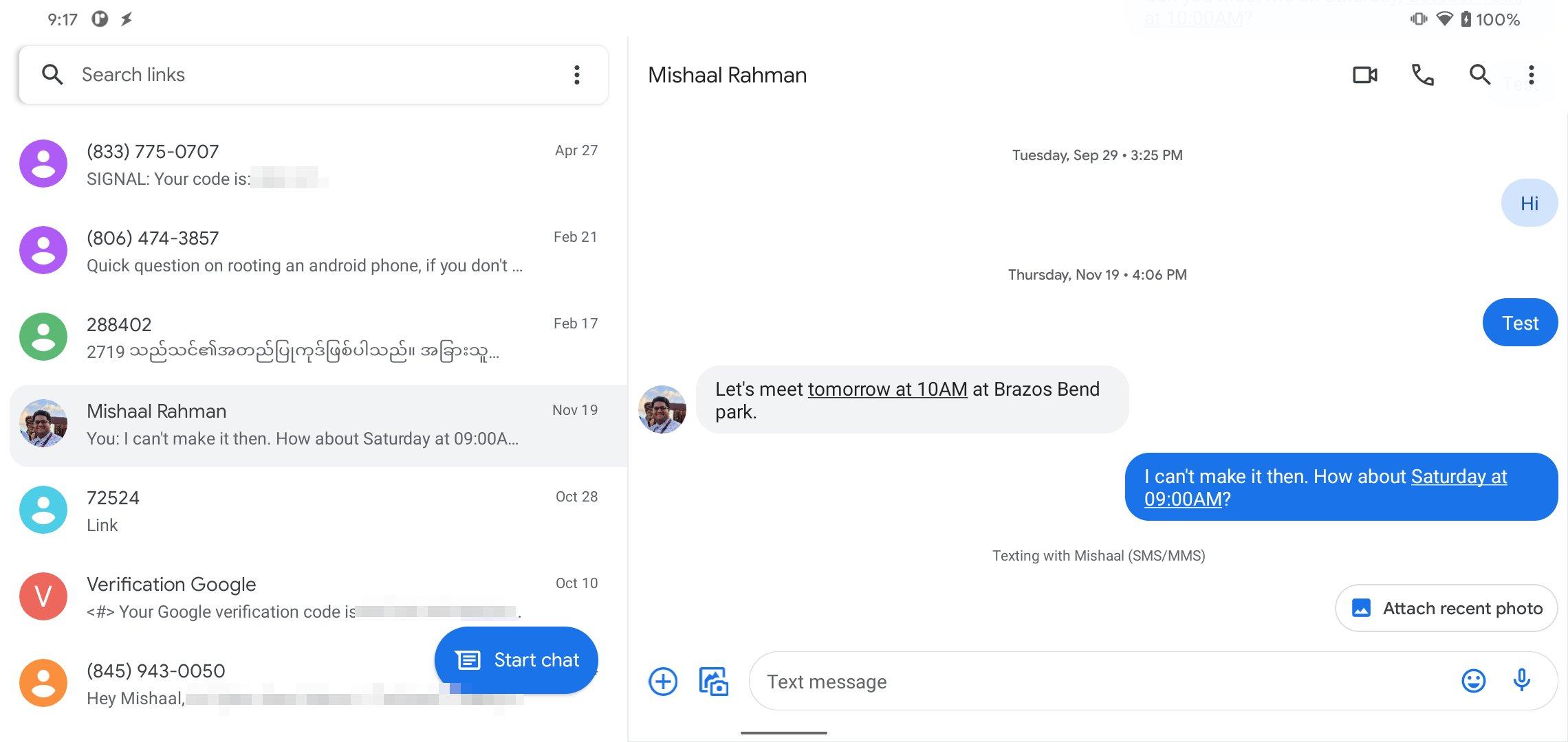 Google Messages для планшетов
