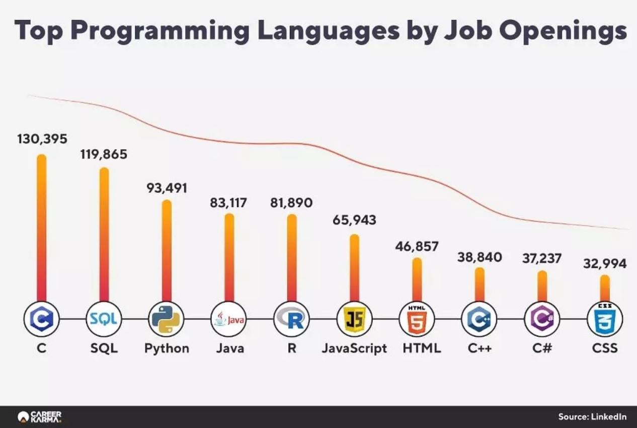 Лучшие языки программирования по доступным вакансиям