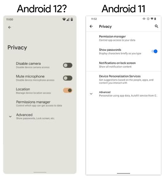 На экране конфиденциальности отображаются аварийные выключатели для камеры и микрофона и новый дизайн страницы настроек с большими верхними заголовками.