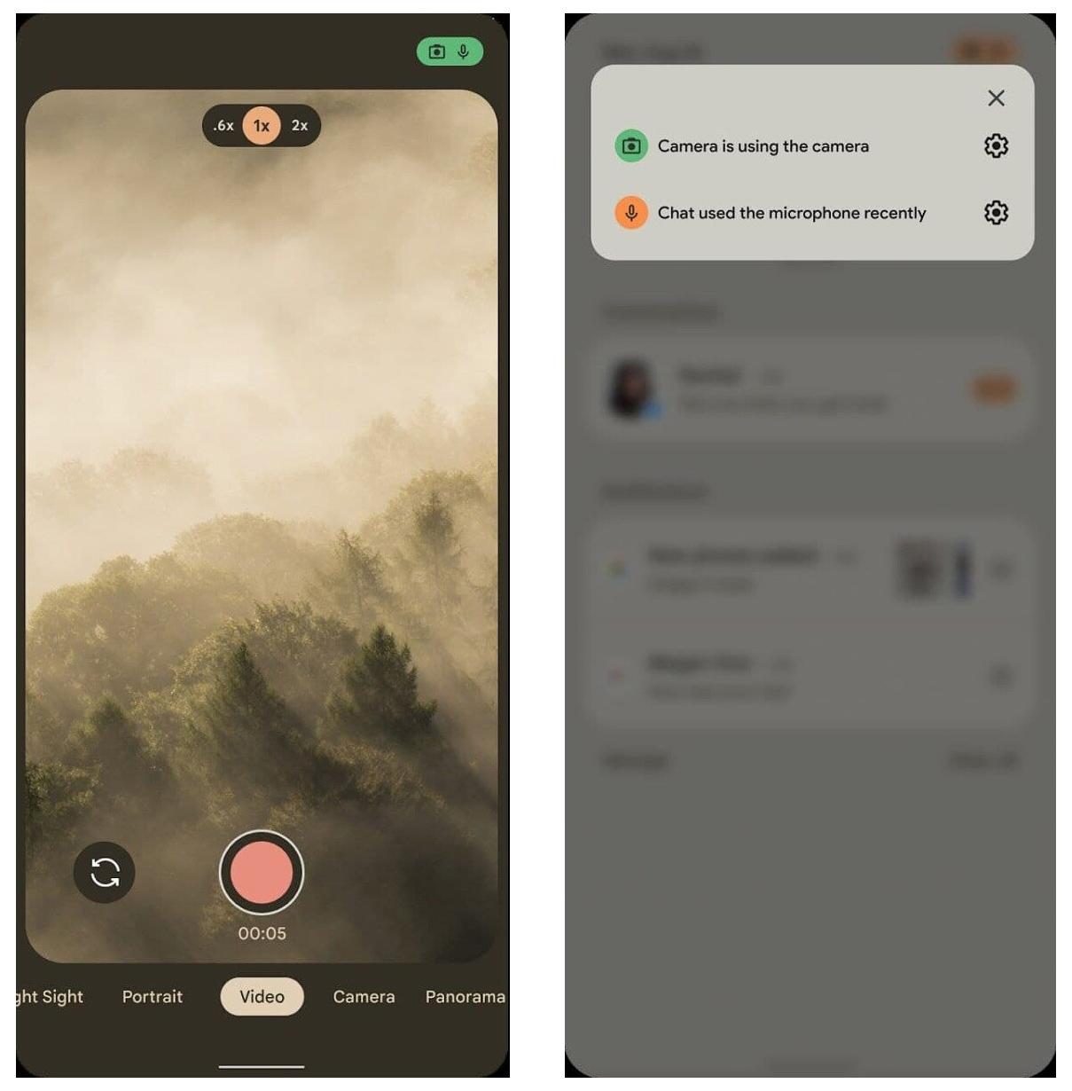 Зеленый чип конфиденциальности в правом верхнем углу показывает, когда приложения используют камеру, микрофон или данные о местоположении
