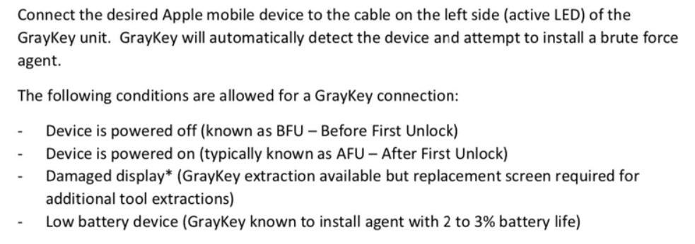 Условия для подключения GrayKey к устройствам на iOS