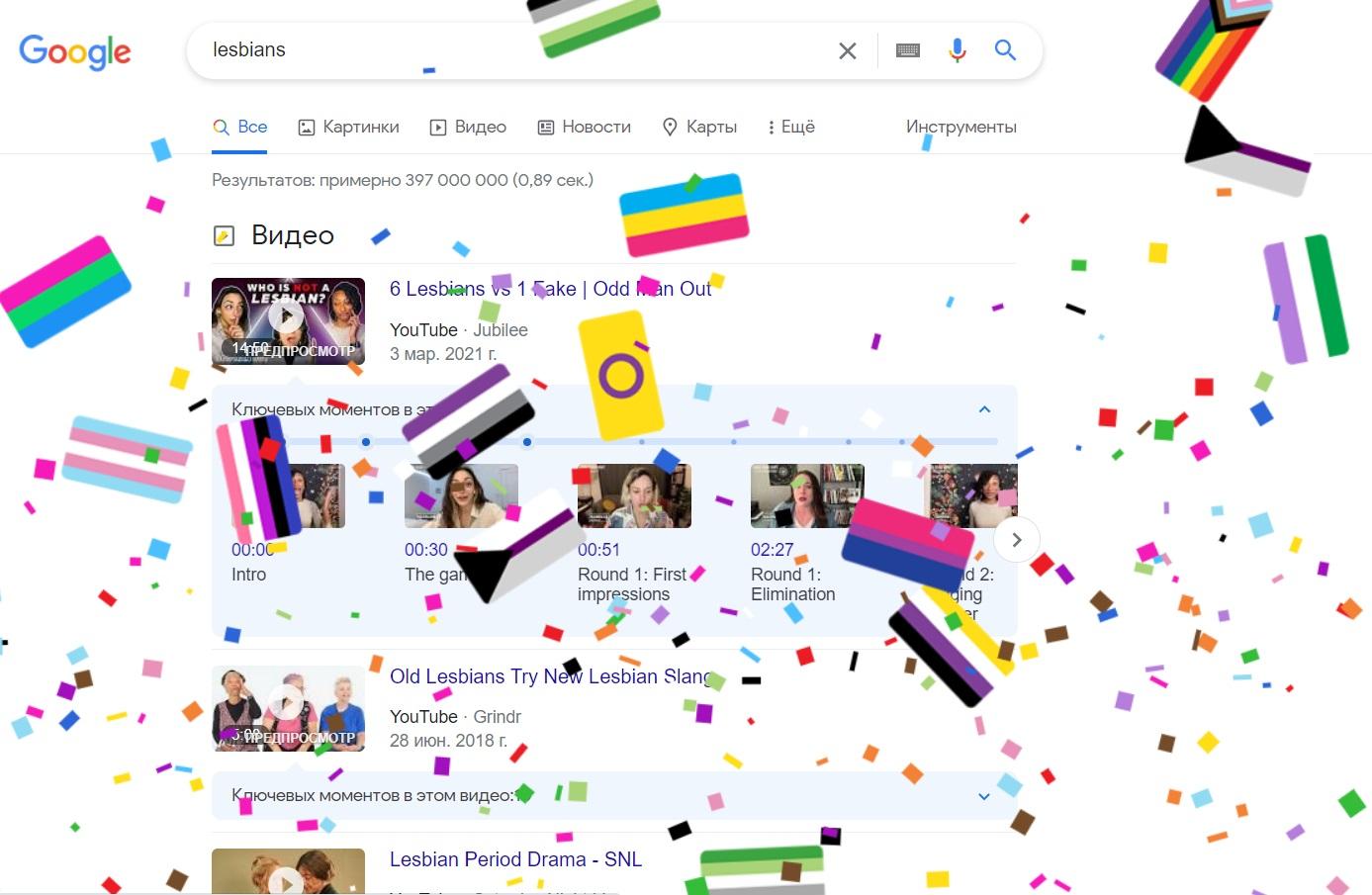 При вводе в поисковике Google названия одного из сообществ, появляется следующее
