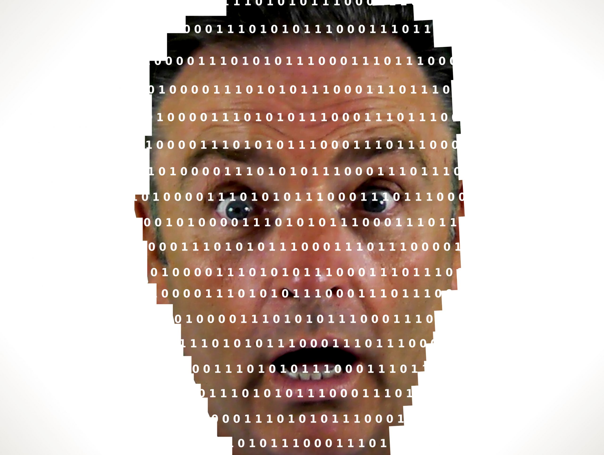 Surprised man looking into binary code - The online privacy prob