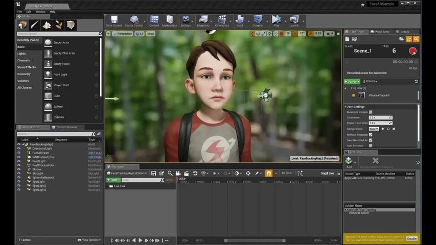 Take Recorder помогает записывать анимацию из захвата движения актера на сцене и из данных Live Link