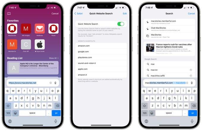Адресная строка в iOS15