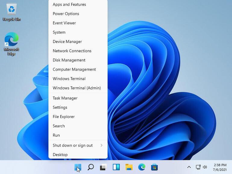 Меню «Питание» как и в Windows 10 доступно через нажатие правой кнопкой мыши по копке «Пуск»