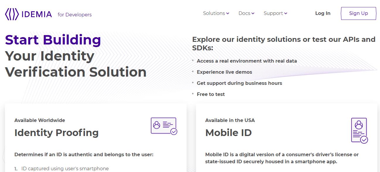 На девелопер-портале Idemia можно ознакомиться с линейкой Identity, над которой работает Марьяна (и даже попробовать интегрировать это ПО)