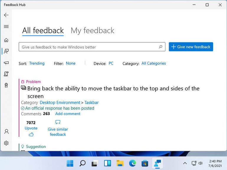 Центр отзывов, где можно оставить комментарии, жалобы и отправить запросы о Windows 11