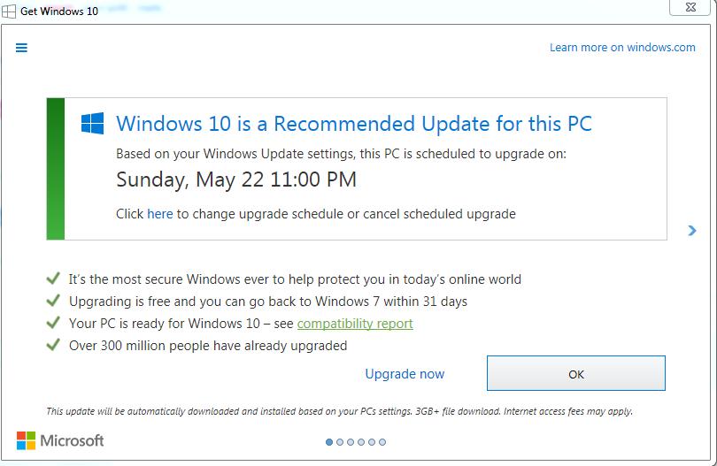 В мае того же года компании снова обновила утилиту, теперь кнопка закрытия перестала активной, поэтому конечный пользователь волей-неволей обновлялся до Windows 10