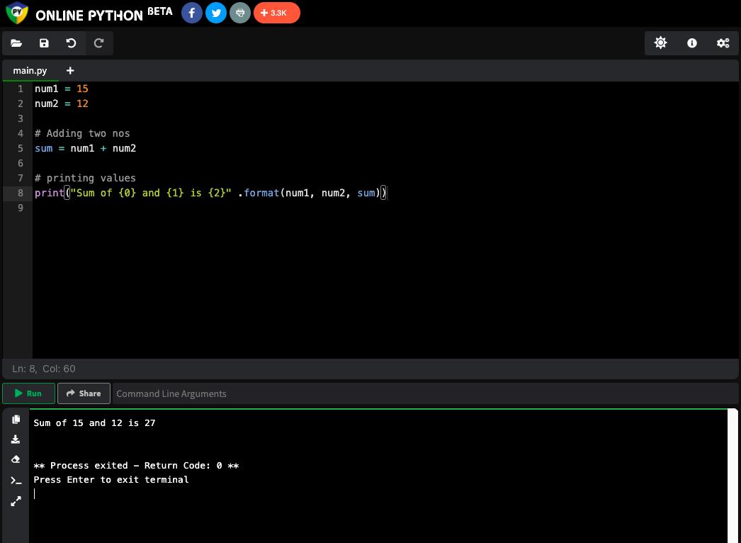Онлайн-компилятор Online Python