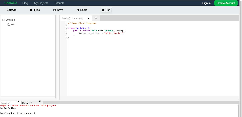 Онлайн-компилятор кода Codiva.io
