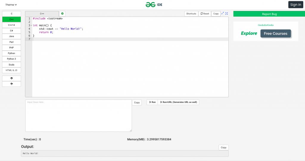 Мультиязычный онлайн-компилятор IDE GeeksforGeeks