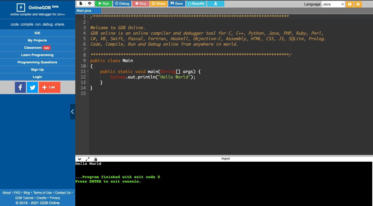 Онлайн-компилятор OnlineGDB