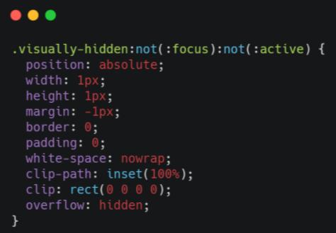 Пример кода, чтобы скрыть информацию с экрана, но оставить ее для скринридера