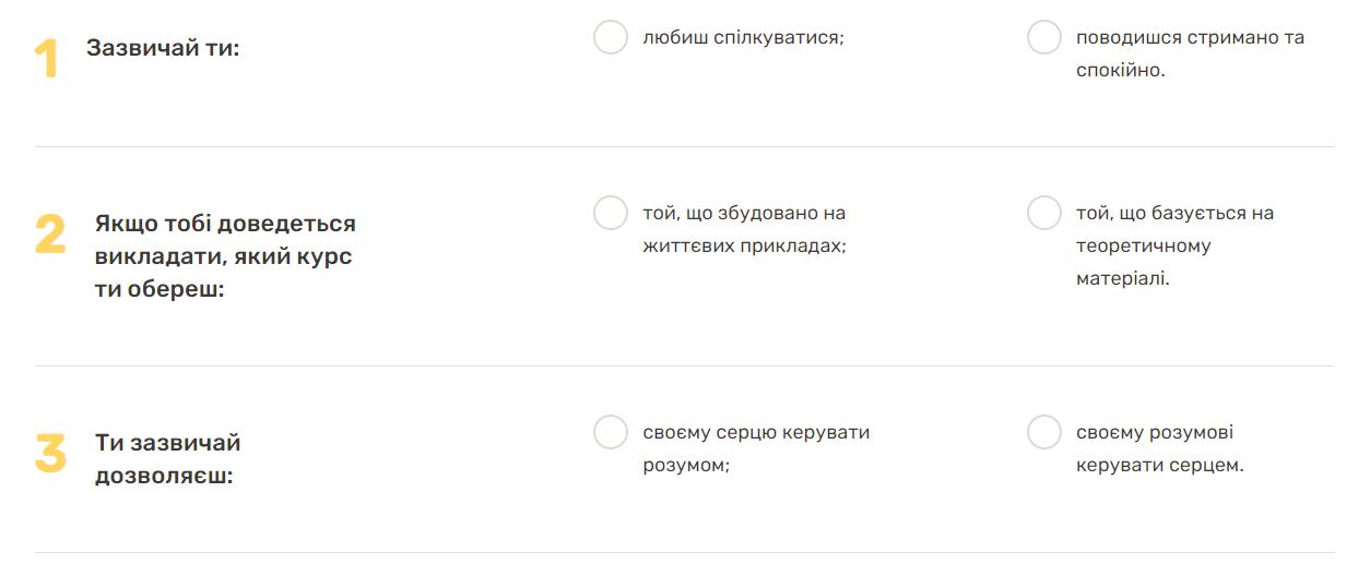 Примеры вопросов карьерного теста Beetroot Academy. Скриншот с сайта академии