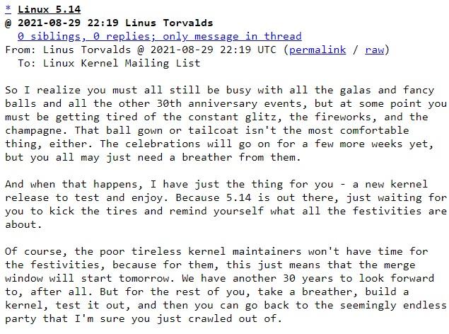 Сообщение Линуса Торвальдса