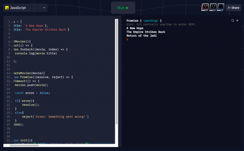 Результат выполнения кода