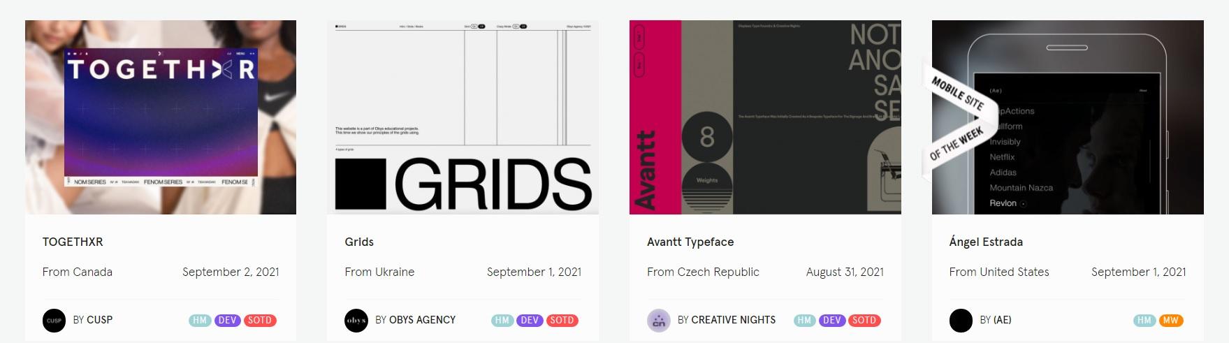 Идеи дизайнов с сайта Awwwards