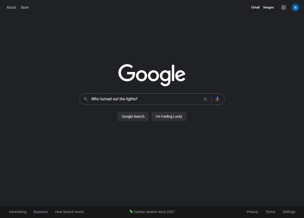 Темная тема в поисковике Google