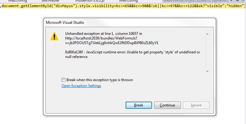 Пример ошибки в Microsoft Visual Studio