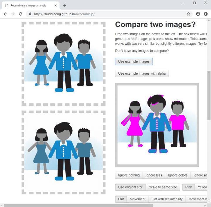 Сравнение изображений с помощью сервиса Resemble.js