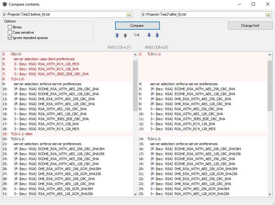 Сравнение файлов как текста в Unreal Commander