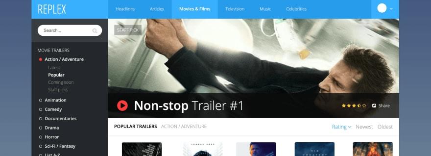 Адаптивное приложение для просмотра фильмов