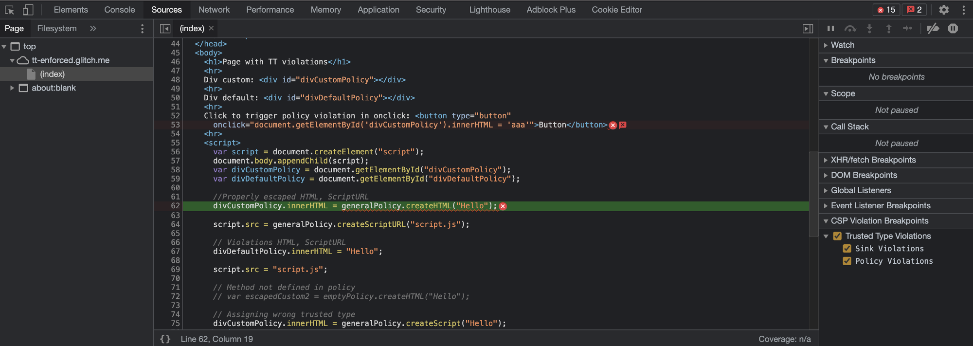 Chrome автоматически определяет возможное нарушение CPS и выделяет код ошибки