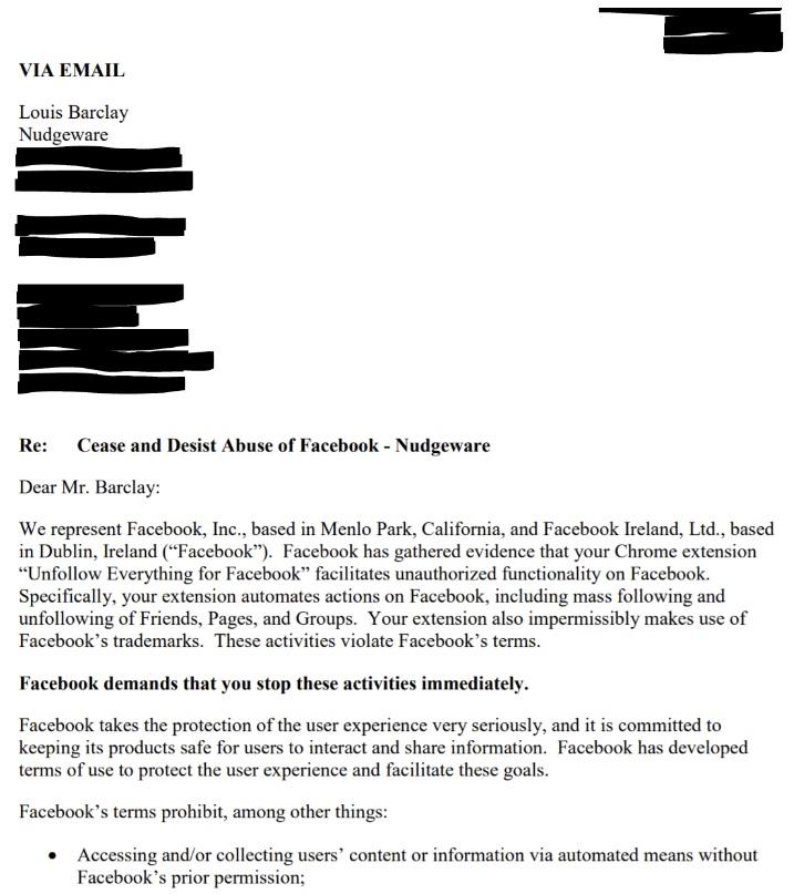 Скрин письма от Facebook