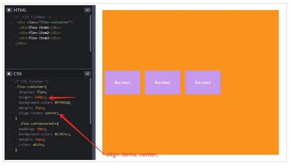 align-items: center центрирует элементы