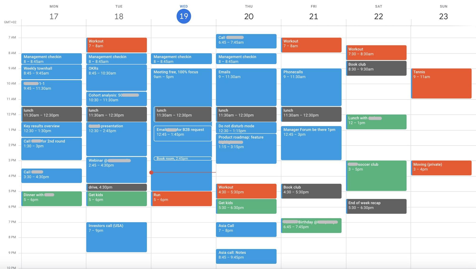 Типичное расписание СЕО / Скриншот Джозефа Маверикса