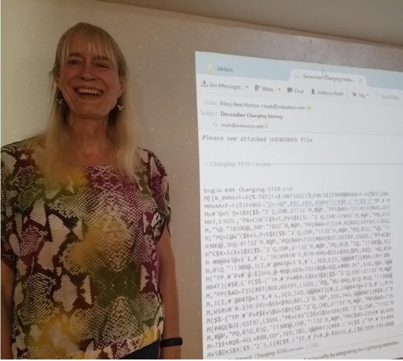 Мэри Энн Хортон со своим изобретением email-вложений Источник: https://maryannhorton.com/mary-ann-horton/a-career-in-computing/email-attachments/